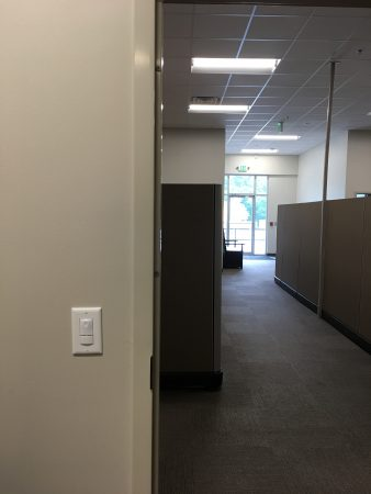 Wall sensor in office and LED lighting in ceiling at Miracle Hill's administrative and foster care office